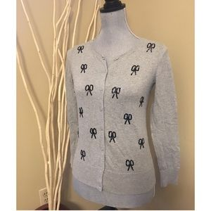 Loft gray cardigan with black sequins size small